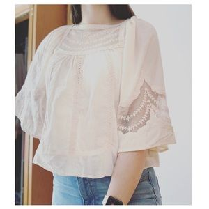 Anthropologie | Blush Embroidered Blouse | Sz 0